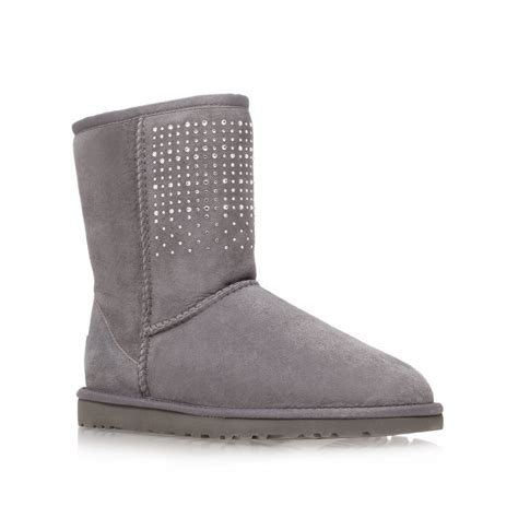 light grey leather ankle boots gray ugg short boots