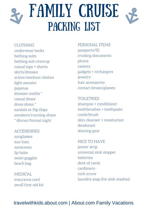 free printable packing list for family cruise vacations