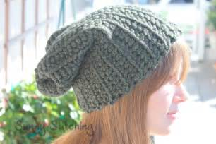 sunny stitching slouchy hat crochet pattern