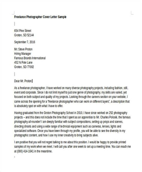 8 photographer cover letter templates free sle