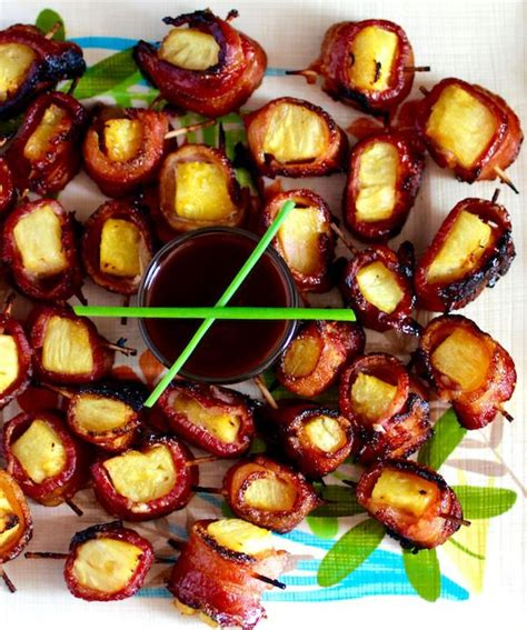 appetizers bbq bacon wrapped pineapple appetizer hawaiian bbq sauce