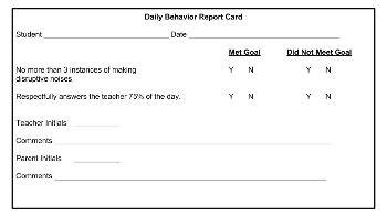 behaviour report card template daily behavior report card template study
