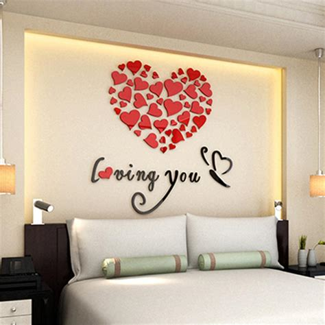 heart wall stickers for bedrooms romantic diy art 3d acrylic love heart wall sticker