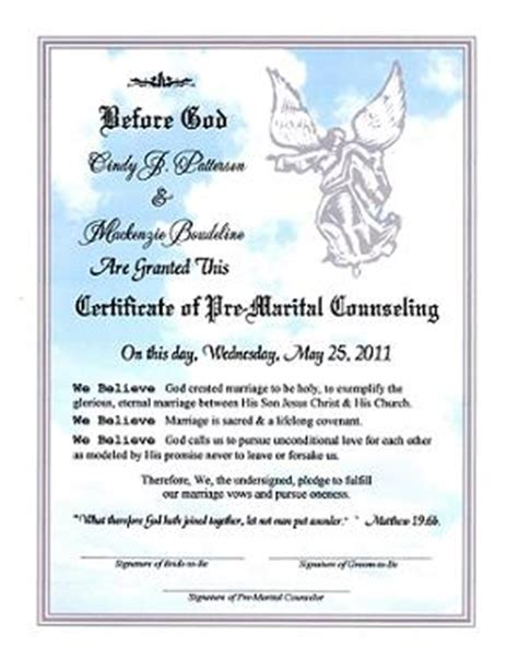 marriage counseling certificate of completion template angelic proclmation of pre marital counseling