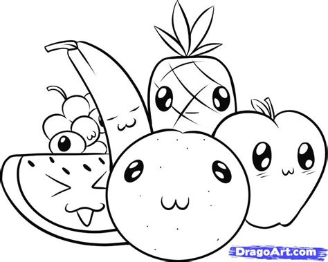 coloring pages food with faces how to draw fruit step by step food pop culture free
