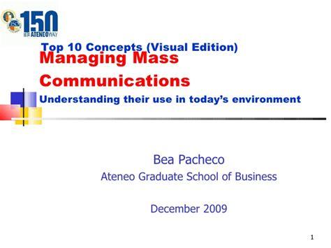 Ateneo Graduate School Mba by Ch18 Managing Mass Communications A Visual Model