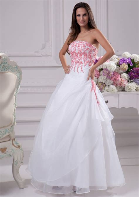 Pink White Wedding Dresses by White Wedding Dress With Pink Accents Sang Maestro