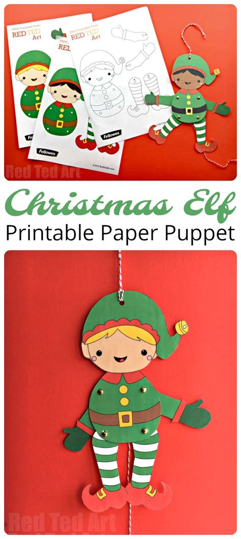 printable elf paper easy christmas elf paper puppet with templates red ted