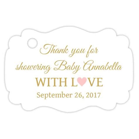 Thank You Card Template Baby Shower Tags by Favor Tags