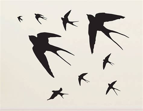 Swallow Wall Stickers flying swallows vinyl wall sticker contemporary wall