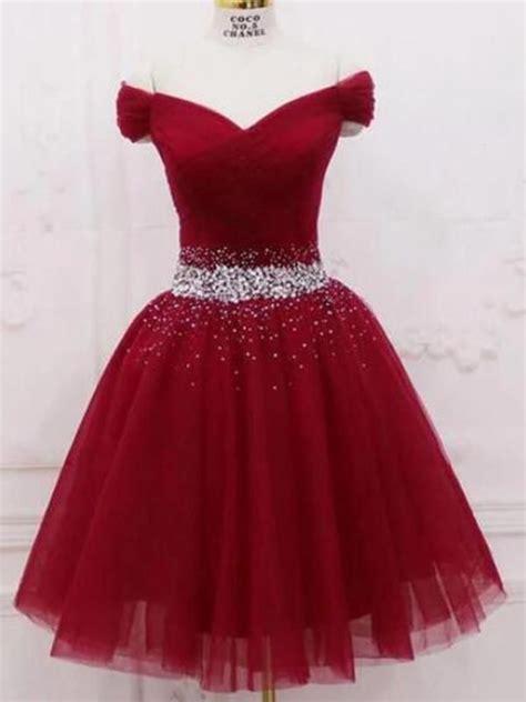 cute   shoulder burgundy homecoming dresses