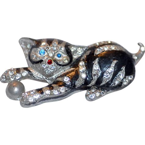 Metal Brooch metal rhinestone cat brooch pin from lebling on ruby