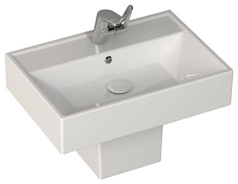 Sink Pedestal Cover fireclay semi pedestal siphon cover white contemporary bathroom sinks by ryvyr