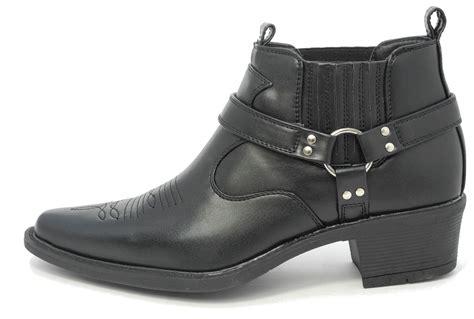 mens low cowboy boots mens us brass wayne black leather look cowboy cuban heel