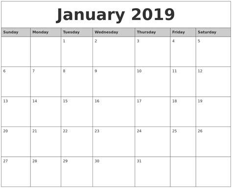 printable calendar january 2019 january 2019 monthly calendar printable