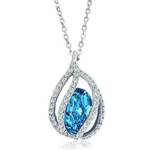 Blue aquamarine teardrop crystal pendant necklace for women necklace