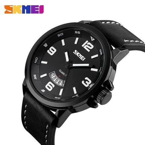Promo Jam Tangan Pria Skone Casual Leather Water Resist Blac skmei jam tangan analog pria 9115cl black