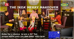 Ikea Gift Cards At Safeway - tv guide quot the ikea merry makeover quot sweepstakes win a 55 quot hdtv and a 1 000 ikea gift