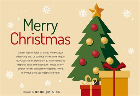 flat christmas tree card design vector download