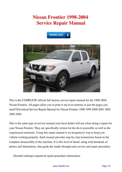 where to buy car manuals 2004 nissan frontier electronic throttle control issuu nissan frontier 1998 2004 service repair manual by david wong