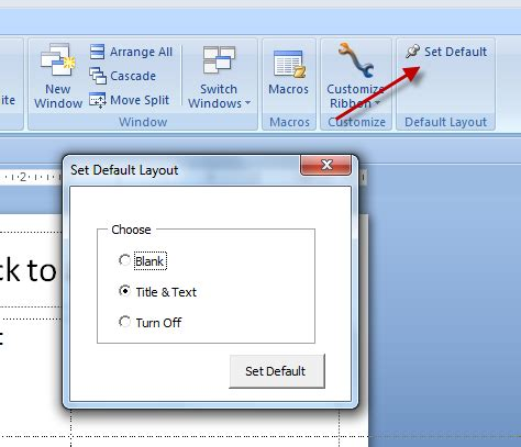 remove default layout of yii powerpoint 2007 default layout