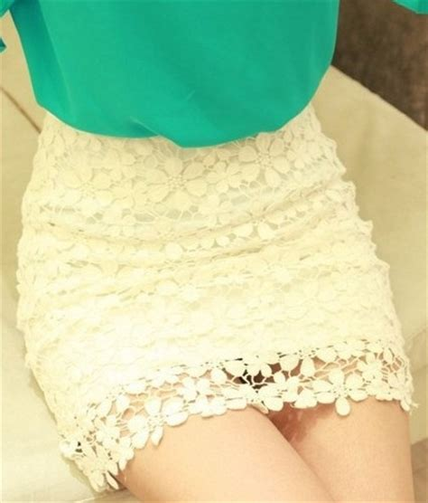 white high waisted lace mini skirt fashionstyle