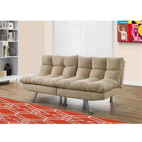 microsuede sofa bed ivah click clack sofa bed in light taupe with soft