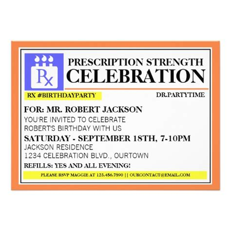 funny prescription label party invitations 5 quot x 7