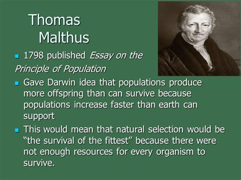 Survival Of The Fittest Essay by Malthus 1798 Published Essay On The Principle Of Population Ppt