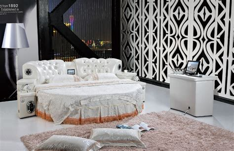 round bedroom furniture popular leather bed buy cheap leather bed lots from china