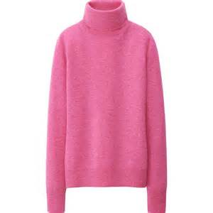 Uniqlo women cashmere turtle neck sweater in pink lyst