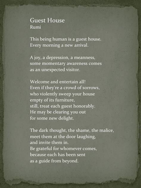 the guest house rumi quot the guest house quot by rumi quotes pinterest