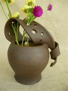 pottery flower vases ceramic flower vase in sun yellow and black mountain