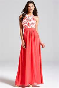 coral and cream floral top maxi dress from little