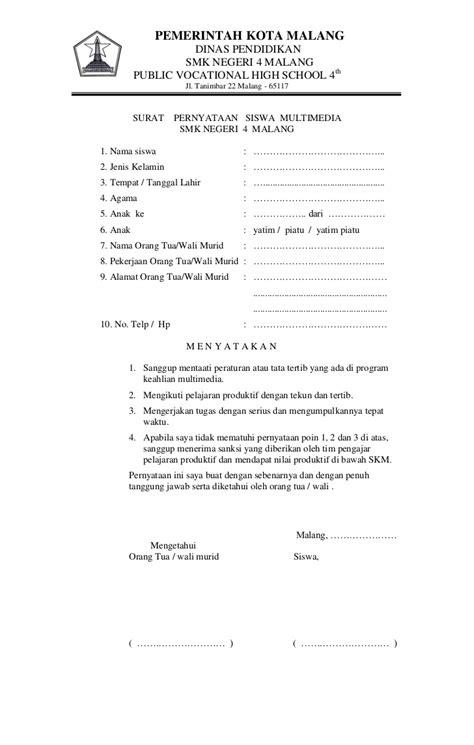 format surat pernyataan tanggung jawab pernyataan siswa docx