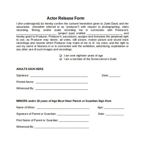 sample actor release forms   ms word