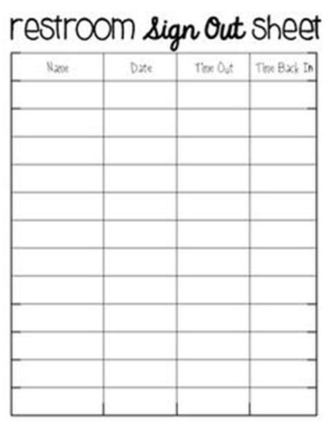 Use This Sign Out Sheet To Log When Students Come And Go From The Classroom Social Studies Bathroom Check Log Template