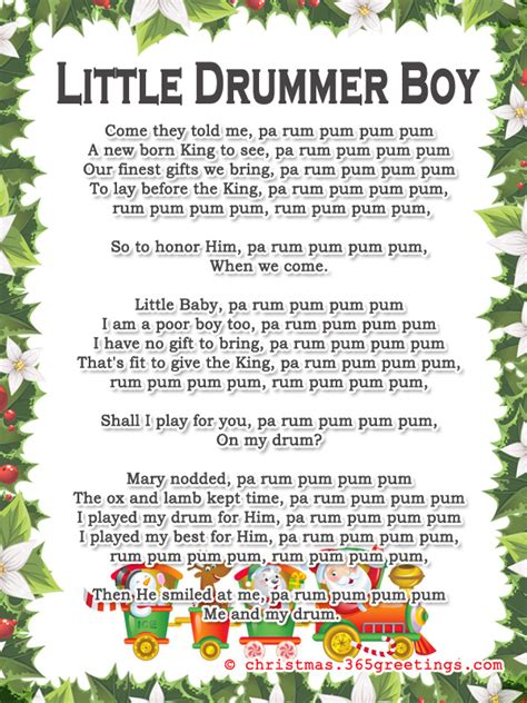 printable lyrics for the little drummer boy popular christmas carols christmas celebration all