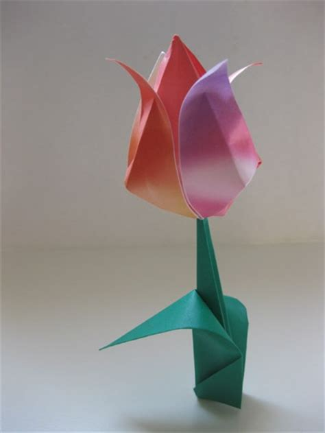 Tulip Origami - tulip with leaf origami pleasant projects
