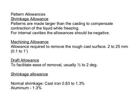 negative pattern allowances foundry basics
