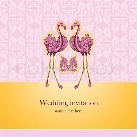 Congratulation Letter Wedding Invitation Vintage Beautiful Wedding Invitation Greeting Card With Pink Flamingos Creative Template