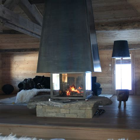 Four Sided Fireplace by Wood And Gas Fireplaces Cheminee Stones Lebanon