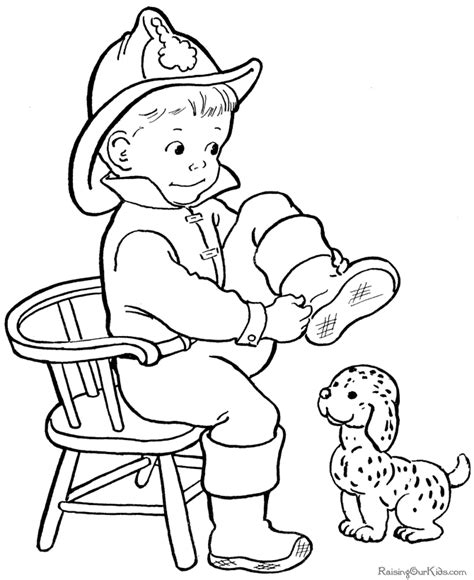 Fireman Kids Coloring Home Fireman Coloring Pages