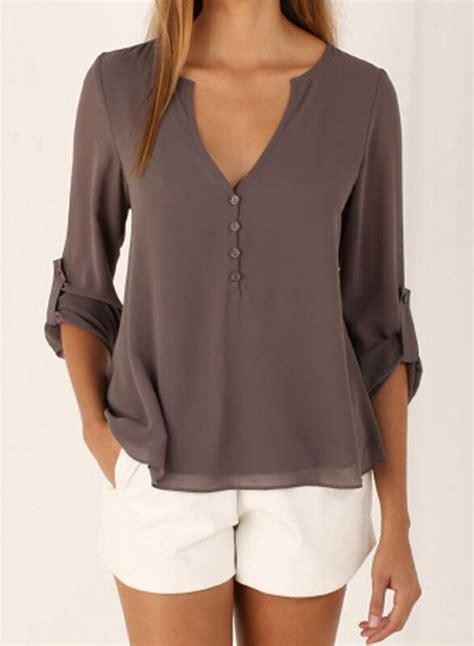 V Neck Sleeve Blouse s fashion v neck sleeve solid irregular blouse