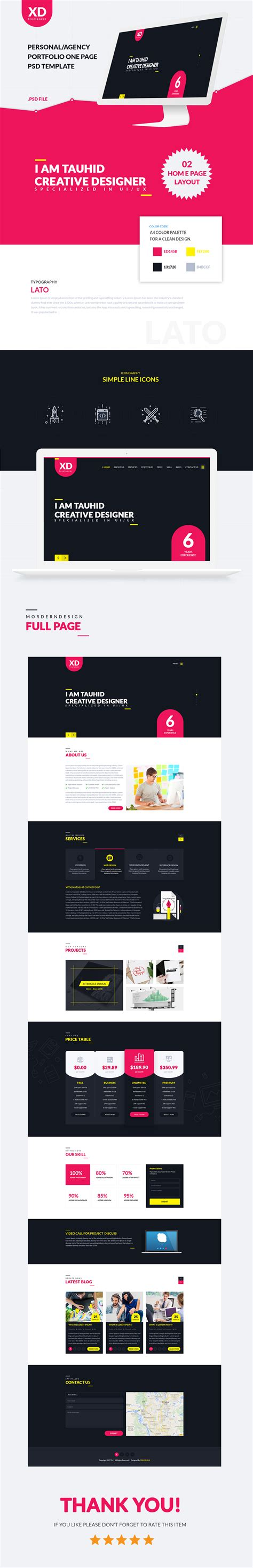 Xd Freelancer Personal Agency Portfolio One Page Html Template By Createuiux Free Xd Templates