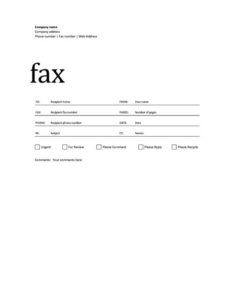 Fax Cover Sheet Professional Design Cover Page Template