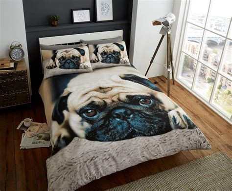 Dog Bedding Set Sad Pug King Size Duvet Set I Love Pugs