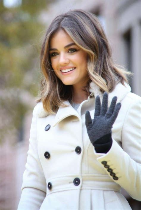 free haircuts and color nyc lucy hale in a chic trench coat at macy s annual