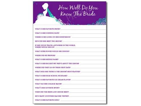 Almost Newlywed Questions For Bridal Shower by How Well Do You The Pdf Wedding Showers