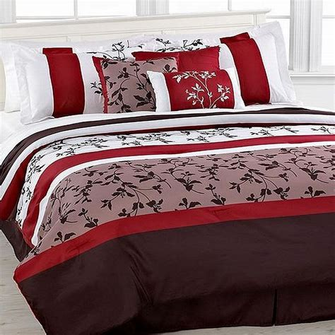 Crest Home Charleston Red 7 Piece Comforter Set Full